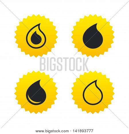 Water drop icons. Tear or Oil drop symbols. Yellow stars labels with flat icons. Vector