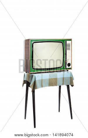 Vintage Green Tv, At The Table With Blue Checkered Tablecloth