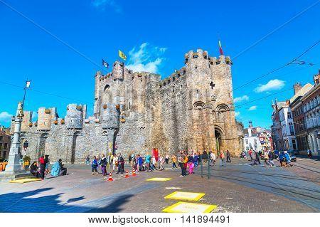 Ghent, Belgium - April 12, 2016: Gravensteen castle and people around in Ghent, Belgium
