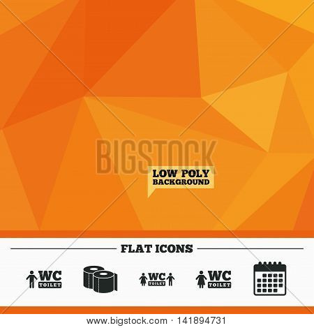 Triangular low poly orange background. Toilet paper icons. Gents and ladies room signs. Man and woman symbols. Calendar flat icon. Vector