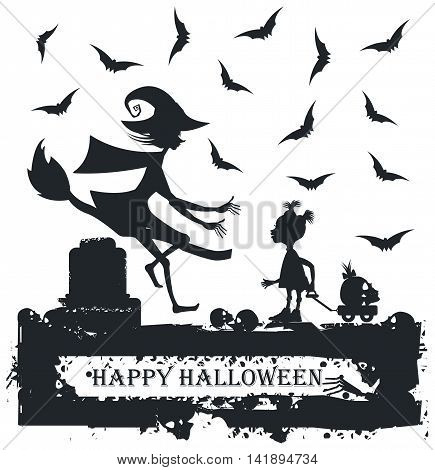 Black and white Halloween illustration with child and witch. Halloween Greeting card.