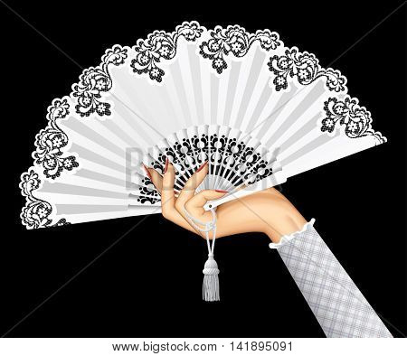Female hand with open white vintage fan isolated on black background. Vector illustration