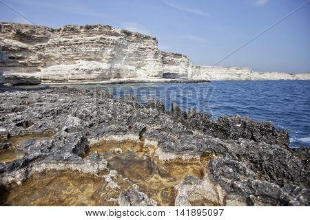 Rocky coast of Cape Tarhankut in Crimea