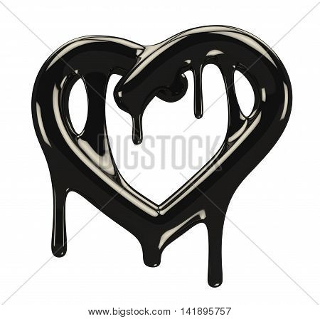 Petroleum black heart with blobs. 3d rendering