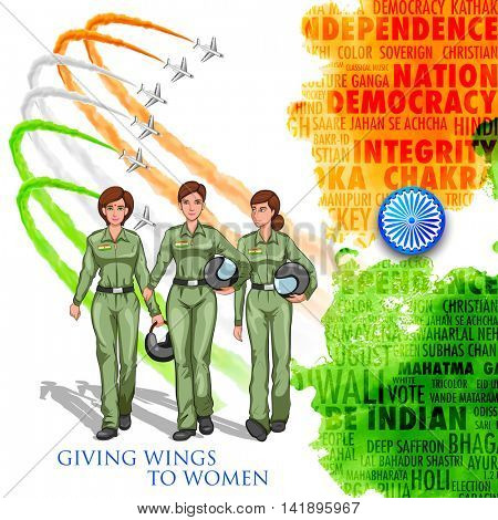 illustration of women pilot on Indian background showing developing India