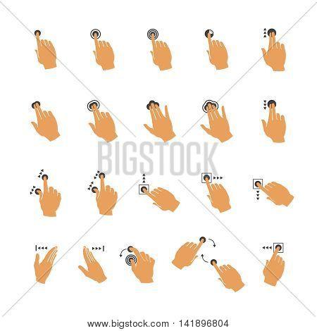 Vector common touchscreen maintenance hand gestures set