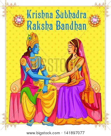 illustration of Subhadra tying Rakhi to Krishna on Raksha Bandhan