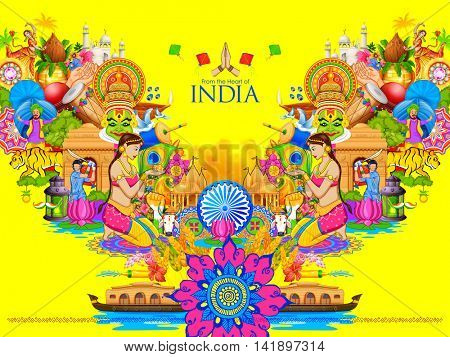 illustration of India background showing its culture and diversity with monument, dance and festival
