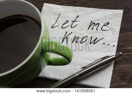Love confession on napkin