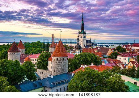 Cityscape of old town Tallinn city at dusk Estonia