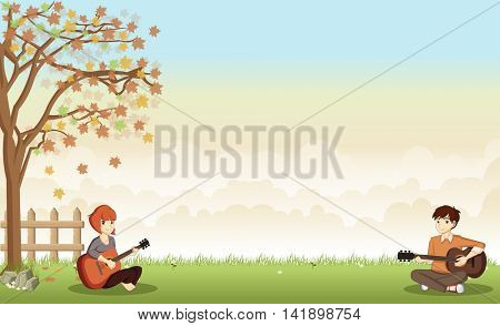 Cartoon teenagers playing guitar on beautiful park. Nature landscape.