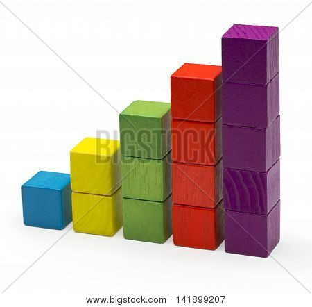 Infographic Blocks Chart Stack Bar Growth Toy Bricks Isolated over White Background, Clipping Path