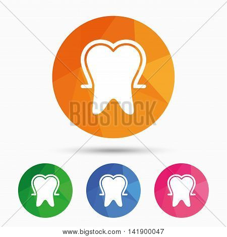 Tooth enamel protection sign icon. Dental toothpaste care symbol. Healthy teeth. Triangular low poly button with flat icon. Vector