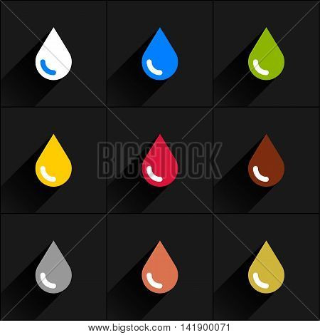 Drop icon set milk, water, eco, oil, blood, chocolate, silver, copper, gold in simple flat style. White, blue, green, yellow, crimson brown gray colors shapes with long black shadow on gray background