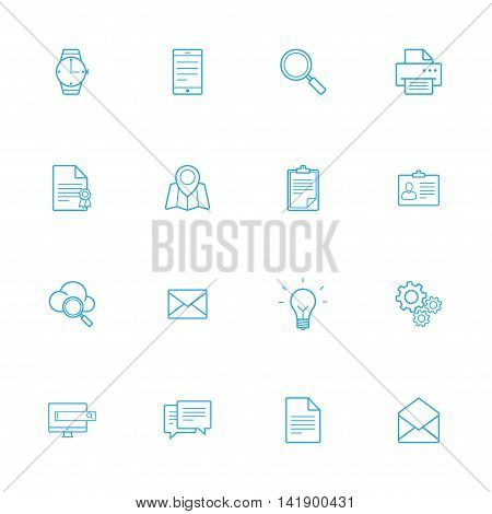 Bussines blue line of icons set of 16