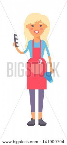 Housewife girl illustration.