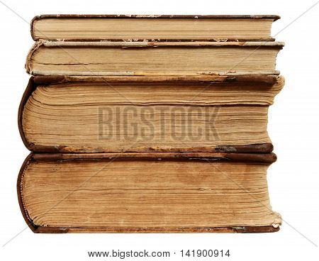 Book Old Edge Brown Paper Vintage Pile Cover Isolated over White