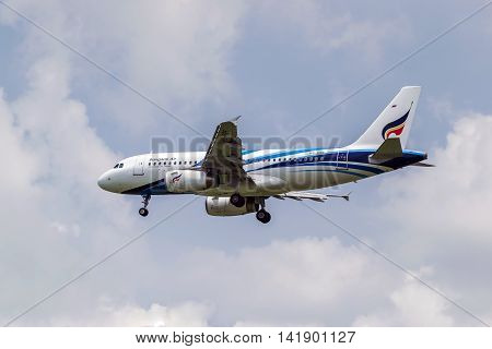 Bangkok,Thailand-Jul 24,2016:Closeup of Bangkok Airways plane in the sky before landing at the Suvarnabhumi airport.