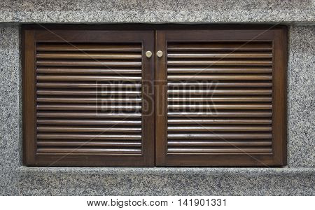 Wooden Door And Window Shutter With Louvers For Background Texture