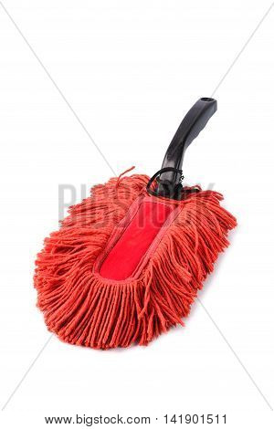Old Dust Brush Or Red Fabric Mop, Isolated