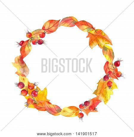 Autumn leaves and berries. Autumn wreath. Watercolor round frame