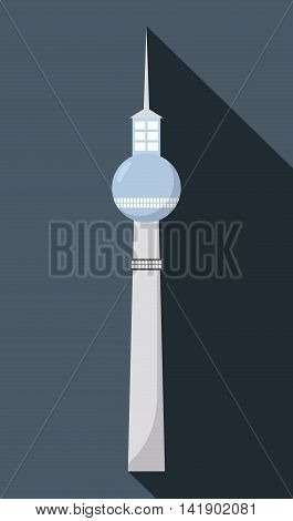 Dynamic Berlin television tower building germany. Colorfull illustration