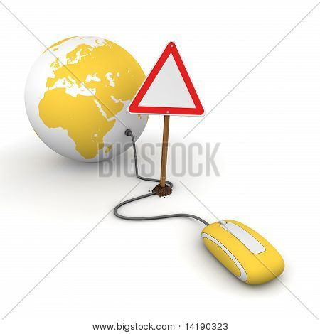 Surfing The Web In Yellow - Blocked By A Triangular Warning Sign