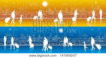 Airport terminal, aircraft on runway, airplane takeoff, aviation scene, people expect flight, transportation infrastructure on background, day and night, vector design art