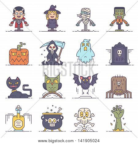 A set of 16 modern flat line style icons for Halloween. Contain cute characters and items: bat cat cauldron death ghost mummy owl pumpkin tombstone skull spider vampire witch