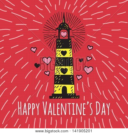 Valentines Day card with illustrated lighthouse. Vector illustrated colorful lighthouse with heart on red background.