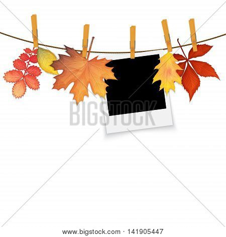 Photo frame on rope with clothespins and autumn leaves vector background