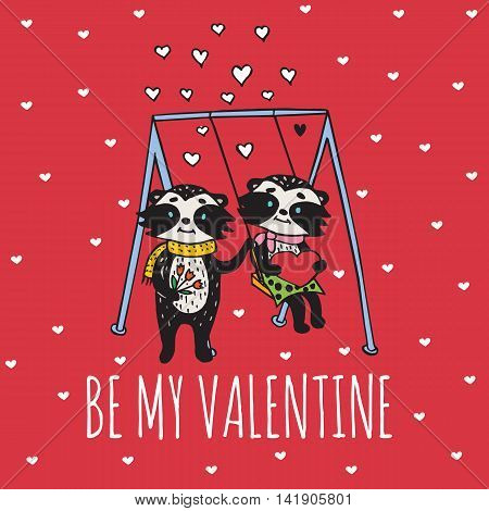 Valentines Day card with illustrated raccoon couple on the swing. Vector illustrated colorful raccoon couple on red background.