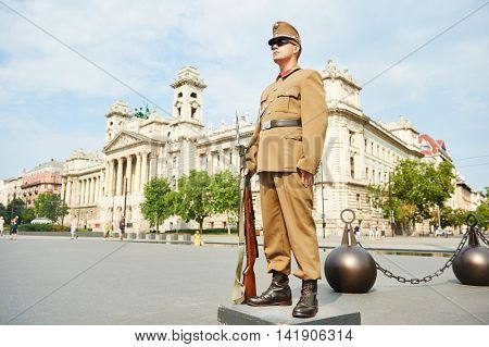 BUDAPEST, HUNGARY - AUGUST 18, 2015: Hungarian guard soldier stood at check-post in front of parliament