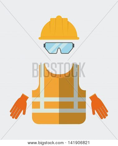 Yellow helmet jacket glasses gloves icon. Industrial Security. Colorfull Vector illustration