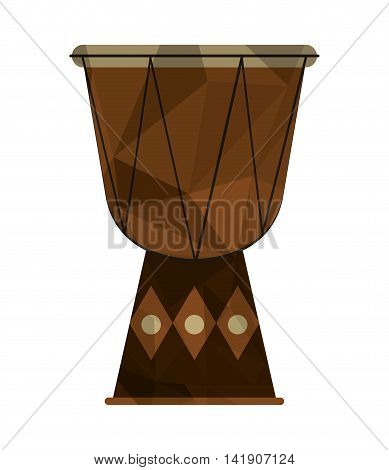 flat design polygon texture djembe icon vector illustration
