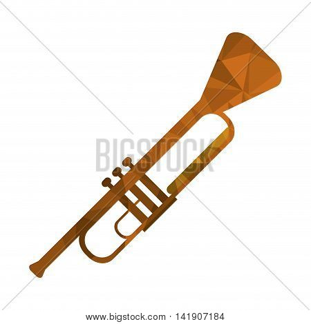 flat design polygon texture trumpet icon vector illustration