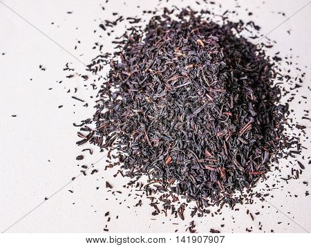 High dynamic range (HDR) Heap of loose tea leaves on a table