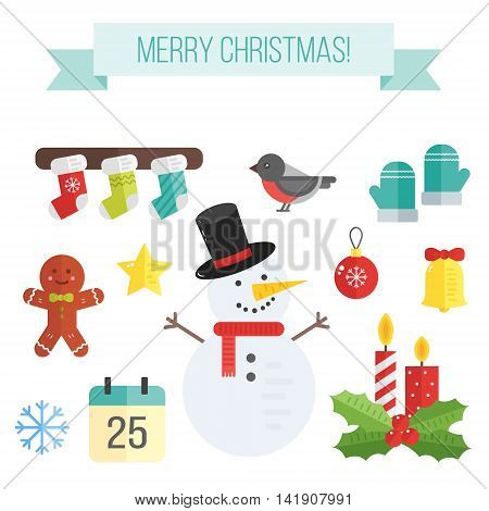 Set of christmas icons. Vector flat elements- snowman and mistletoe