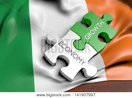 Ireland economy and financial market growth concept, 3D rendering