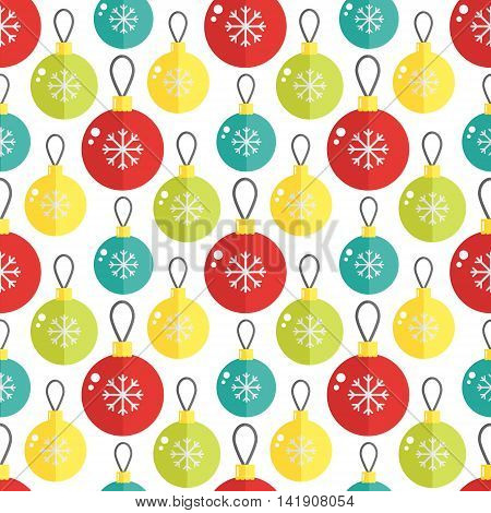 Seamless pattern with christmass ball. Vector illustration. Great for cards and wrapping paper.