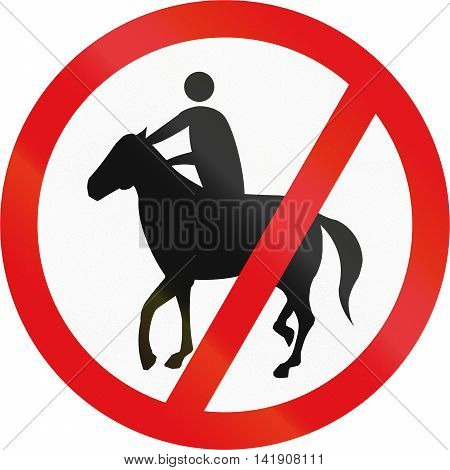 Road Sign Used In The African Country Of Botswana - Horses And Riders Prohibited