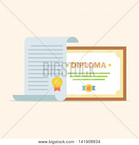 Vector icons of the diploma and certificate isolated from the background. Icon showing completion of studies and graduation. The awarding of scientific degree.