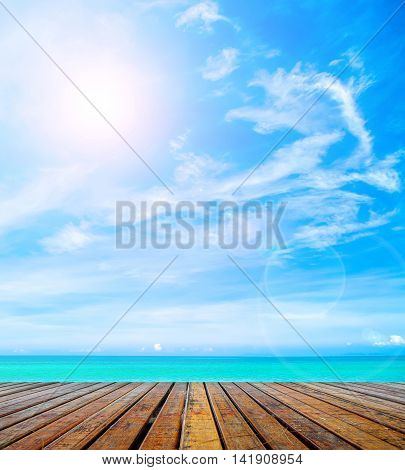 Abstact wooden plank with beautiful beach background