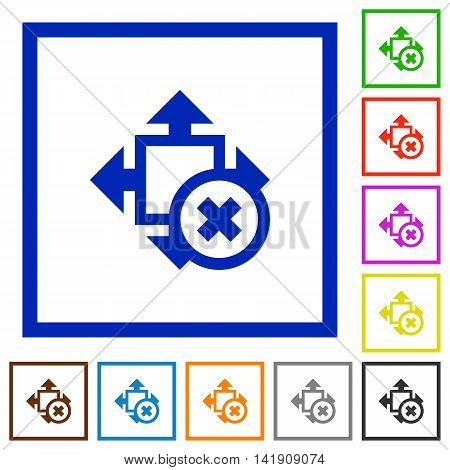 Set of color square framed Cancel size flat icons
