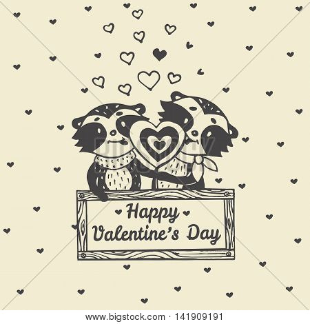 Valentines Day card with illustrated raccoon couple licking heart lollipop. Vector illustrated colorful raccoon couple on beige background.