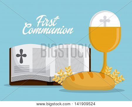 cup bible bread gold religion icon. First communion concept. Flat and Colorfull illustration. Vector graphic