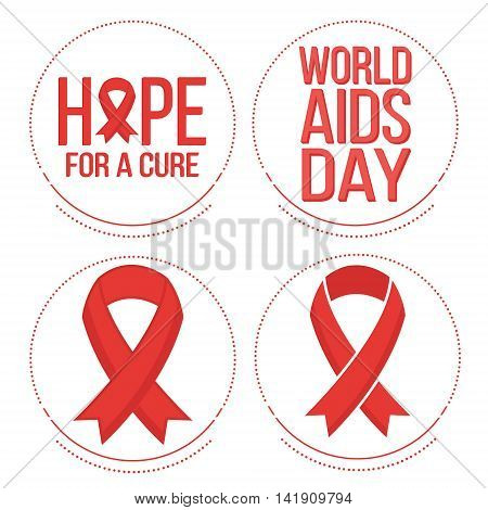 Vector set of red ribbons symbols and badges for world aids day 1 december
