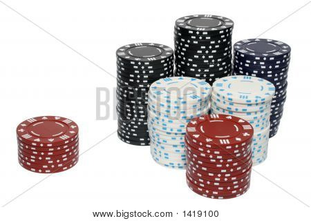 A Large Stack And A Small Stack Of Poker Chips.