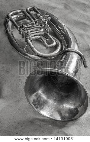 Old Musical wind instrument baritone in black and white