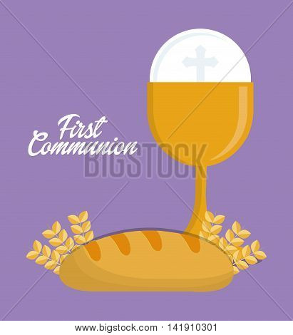 cup bread gold religion icon. First communion concept. Flat and Colorfull illustration. Vector graphic